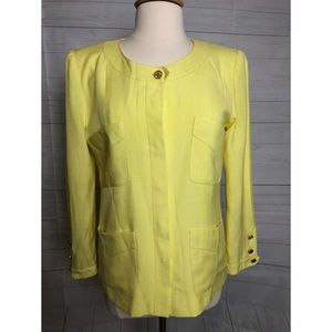 CHANEL LONG SLEEVES YELLOW BLAZER BUTTON FRONT